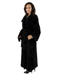Woman's Black Swakara Russian Lamb Fur Coat