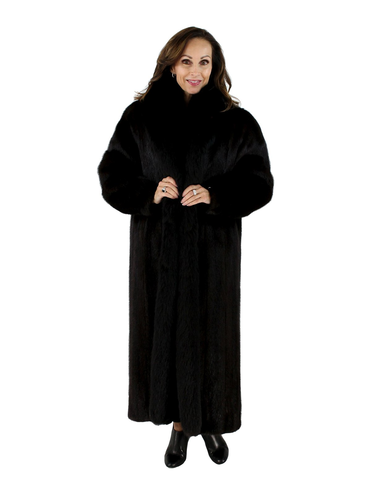 Woman's Ranch Mink Fur Coat with Black Fox Tuxedo Front