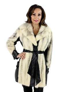 Woman's Natural Cross Mink Fur and Black Leather Jacket