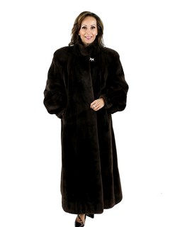 Dark Chocolate Brown Sheared Beaver Coat with Raglan Sleeves