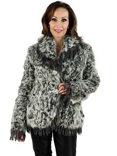 Woman's Curly Lamb Fur Jacket