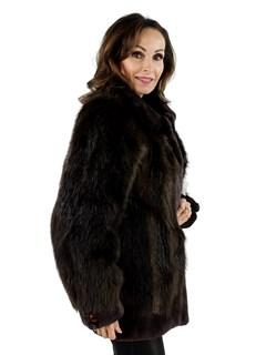 Woman's Long Hair Beaver Fur Jacket