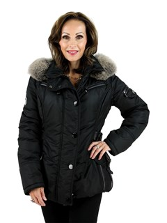 NEW Gorski Woman's Italian Black Apres-Ski Jacket with Fox Trimmed Hood and Leather Details