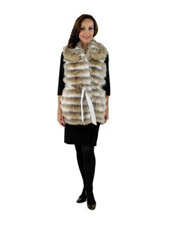 New Gorski Woman's Coyote with Rabbit Fur Vest