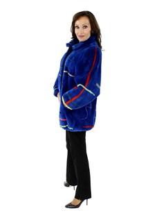 Blue Sheared Beaver Fur Jacket