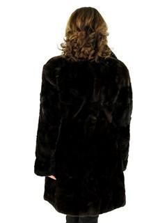 Woman's Dark Brown Sheared Mink Fur Section Stroller