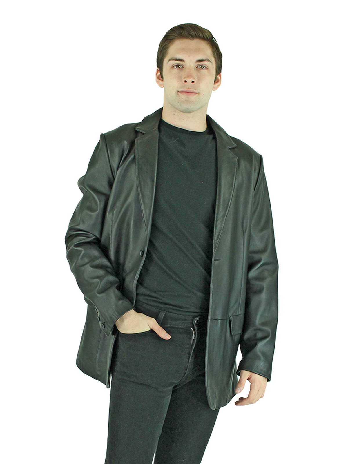 Man's New Black Leather Blazer