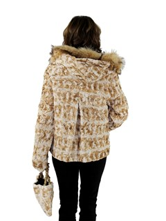 New Woman's Iceberg Sheared Mink Fur Section Jacket with Fox Fur Trimmed Hood and Matching Hand Bag