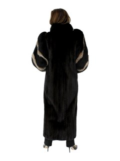 Woman's Ranch Mink Fur Coat with Fox Tuxedo Front