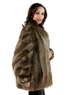 Woman's Blonde Long Hair Beaver Fur Jacket