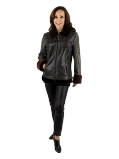 NEW Woman's Dark Chocolate Brown Fitted Shearling Jacket