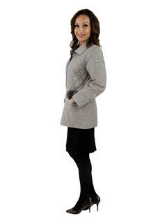 NEW Woman's Tailored Grey Quilted Fabric Jacket with Darker Grey Trim