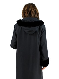 Woman's Black Raincoat with Detachable Black Sheared Rabbit Liner