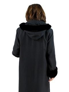Woman's Black Raincoat with Detachable Black Sheared Rabbit Liner