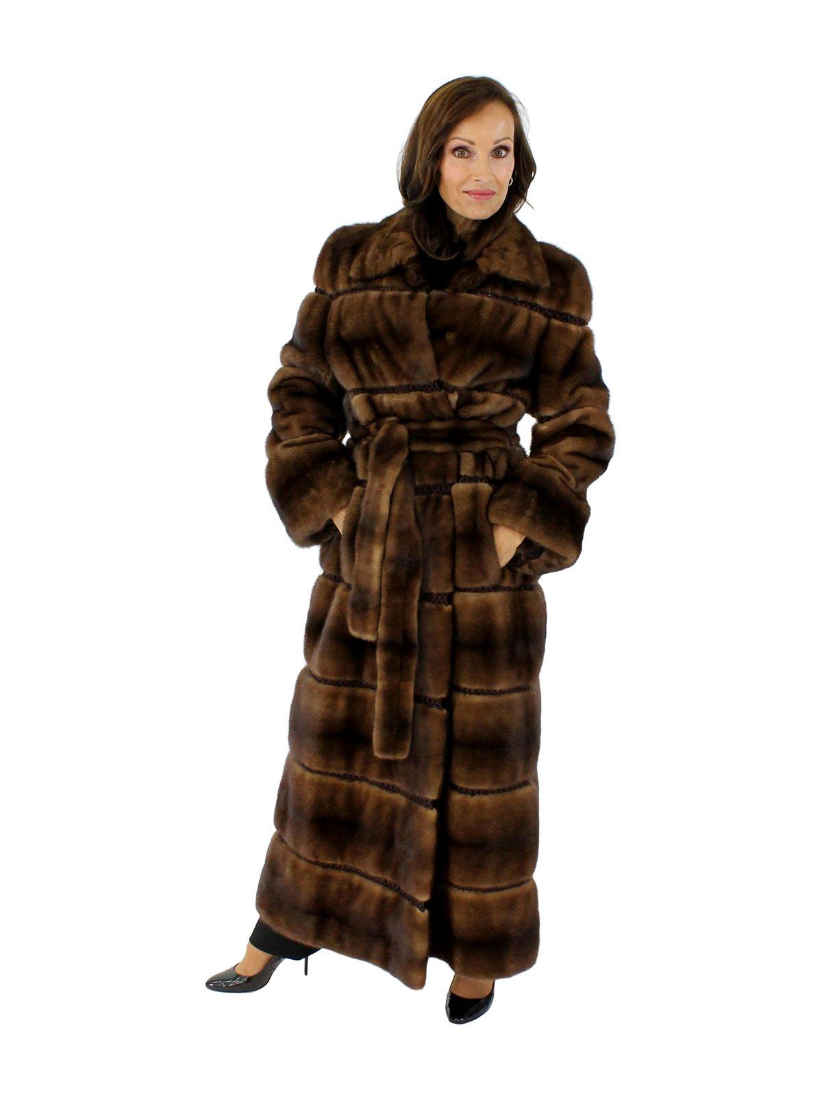 Demi buff Belted Full Length Mink Fur Coat
