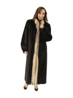 Mahogany Mink Fur Coat Crystal Fox Trim