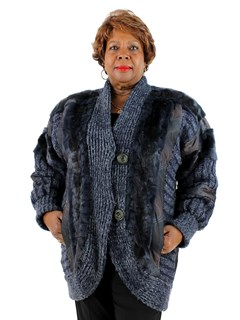 Woman's Deep Blue Mink Section Fur and Knit Fabric Stroller