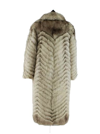 Chevron Cut Blue Fox Fur Coat