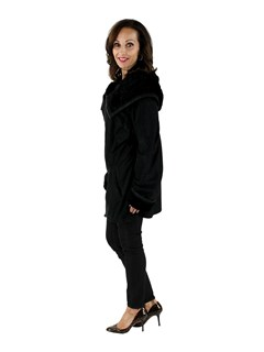 Woman's Black Suede Leather Jacket with Lamb Collar
