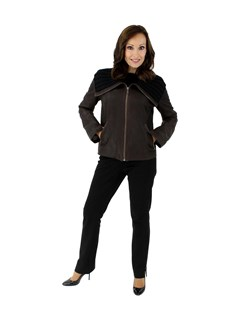 NEW Woman's Petite Dark Chocolate Brown Leather Jacket