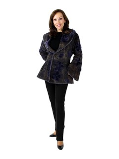 Zuki Woman's Purple Sheared Beaver Fur Jacket