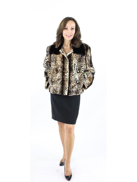 Woman's Black and Cream Sheared Mink Fur Jacket