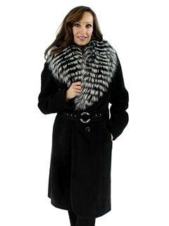 New Woman's Black Shearling Lamb with Silver Fox Collar