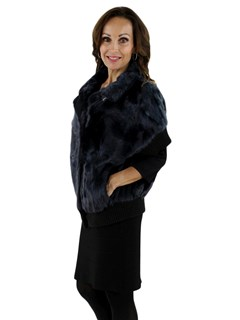 New Gorski Woman's Navy Lamb Fur Jacket