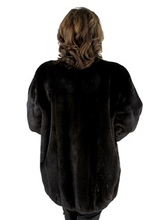 Woman's Brown Mink Fur Jacket with Sheared Mink Trim