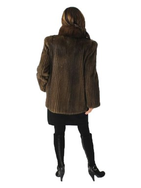 Lunaraine Cord Cut Mink Fur Jacket w/ Fox Tux