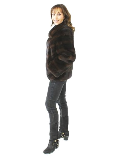 Chevron Mink Fur Jacket