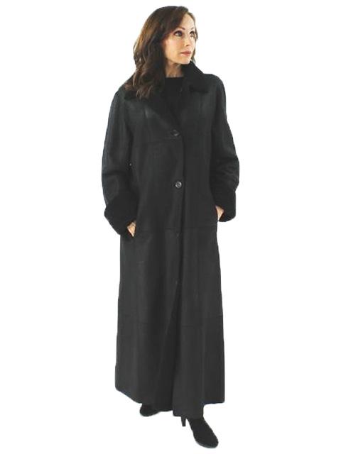 Woman's Black Full Length Shearling Coat