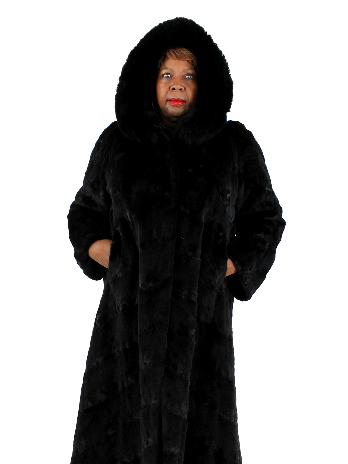 Woman's Full Length Semi Sheared Ranch Mink Fur Coat