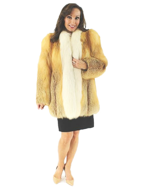 Woman's Red Fox Fur Jacket With Shadow Fox Trim