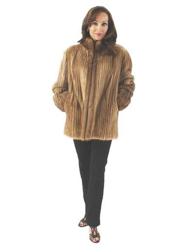 Pastel Mink Fur Cord Cut Jacket