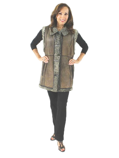 Woman's Taupe Shearling Lamb Vest