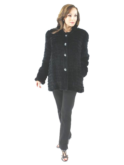 Woman's Black Knit Rex Rabbit Fur Jacket
