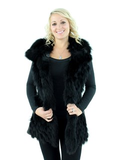 NEW Woman's Black Leather and Fox Fur Vest