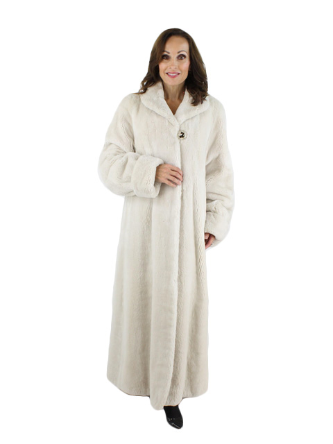 Woman's White Sheared Beaver Fur Coat