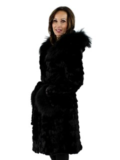 NEW Woman's Black Mink Section Fur Hooded Stroller