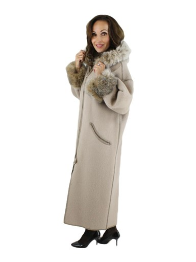 Hooded 100% Wool Coat