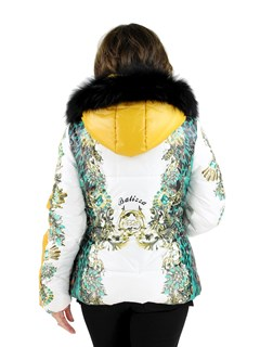 New Woman's White/Print Fabric Jacket with Fox trimmed hood