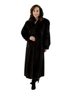 Woman's Dark Mahogany Full Length Mink Fur Coat
