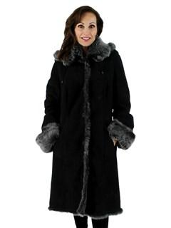 Woman's Petite Snow Top Fleece Black Shearling Suede Stroller