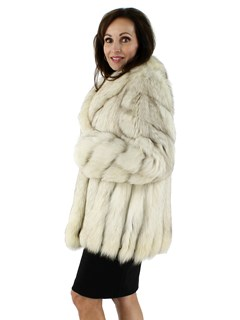 Beautiful Woman's Blue Fox Fur Jacket with Diagonally Designed Sleeves
