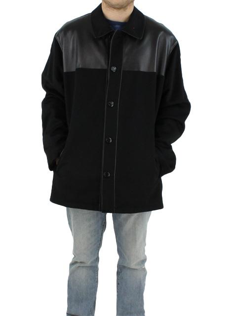 NEW Man's Black Cashmere Jacket with Black Leather Yoke