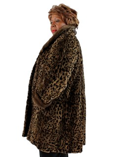 Woman's Animal Print Sculptured Mink Section Fur Coat