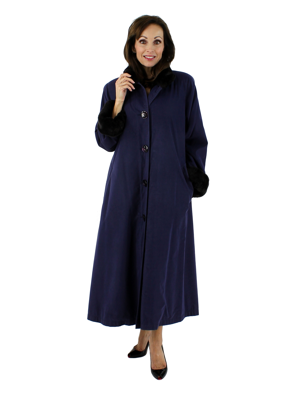 Woman's Deep Periwinkle Full Length Raincoat with Nutria Lining