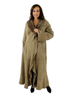 Woman's Camel Shearling Coat