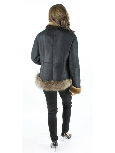 Shearling Lamb Jacket w/ Finnish Raccoon Fur Trim